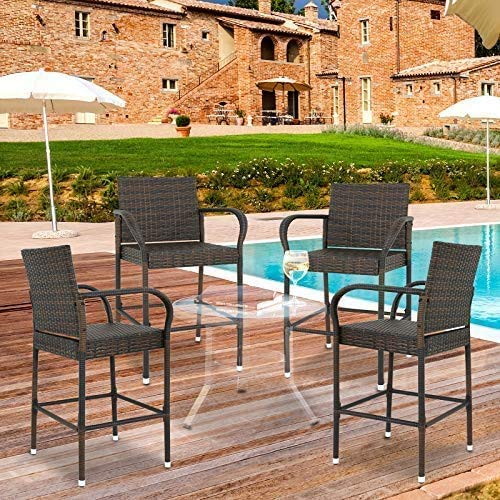 Wicker Barstool Outdoor Patio Furniture Bar Stools All Weather Rattan Chair w/Armrest and Footrest for Garden Pool Lawn Porch Backyard, Set of 4