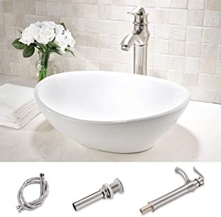 TRIUN oval Above Counter White Porcelain Ceramic Bathroom Vessel Sink and Brushed Nickel Single Lever Faucet Matching Pop Up Drain Combo