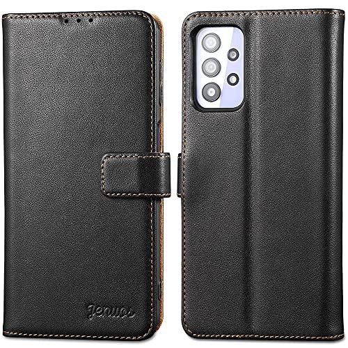 Jenuos Funda Samsung Galaxy A32 5G Libro, [Bloqueo RFID] Carcase de Cuero Genuino con Tapa Cierre Magnético y Ranura para Tarjeta Funda Piel para Samsung Galaxy A32 5G- Negro(A32-PG-BK)