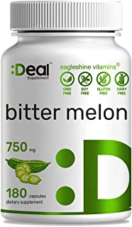 Supplement Bitter Melon 750mg, 180 Capsules, Support Balanced Blood Sugar Level , Non-GMO, No Gluten, Made in USA