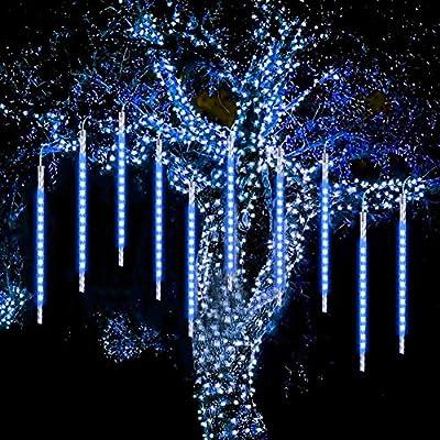 WASAGA Meteor Shower Lights, LED Rain Lights 20 Tubes 960 LEDs (2 Pack) 50cm Christmas Icicle Drop Lights Snow Lights for Christmas Wedding Party Urban Night Lighting New Year Garden Tree Home Decor