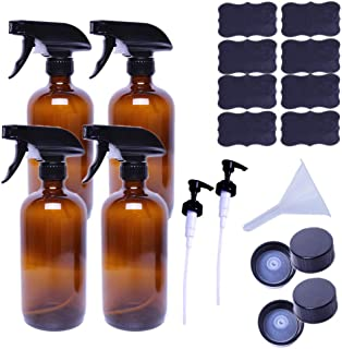 AMYHOM Empty Refillable Amber Glass Spray Bottles of 4 Pack 16 oz for Essential Oil, Aromatherapy, Cleaning Products, Perfume, Alcohol Sterilizer, with 4 Pack Sprayers, 4 Caps, 2 Lotion Pumps