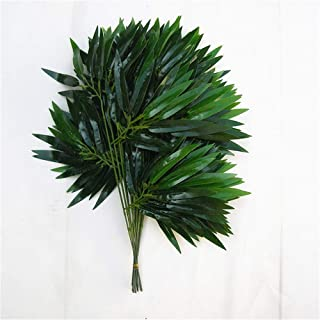 HY 45CM Artificial Bamboo Leaves Wedding Decoration Accessories Fake PE Plastic Branch Stem Bridal Home Salon Decorations Pack of 12PCS