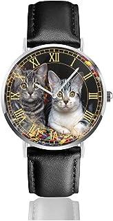 腕時計猫バスケット動物。メンズ腕時計ファッションカジュアルビジネススポーツ高品質多機能クロノグラフレザーウォッチレザーストラップ防水クォーツウォッチ