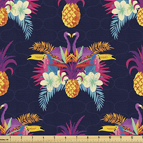 Ambesonne Tropical Fabric by The Yard, Vivid Tropical Seamless Pattern of Flamingos Flowers and Pineapples Art Print, Decorative Fabric for Upholstery and Home Accents, 1 Yard, Multicolor