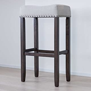 Wood Kitchen Pub-Height Barstool – Backless Upholstered Nailhead Trim Saddle Seat,..