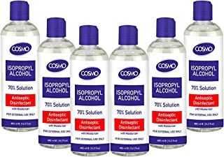Cosmo Isopropyl Alcohol 70% Solution Liquid 480ML PACK OF 6, Advanced Formula, Germs Protection, Antiseptic/Disinfectant W...
