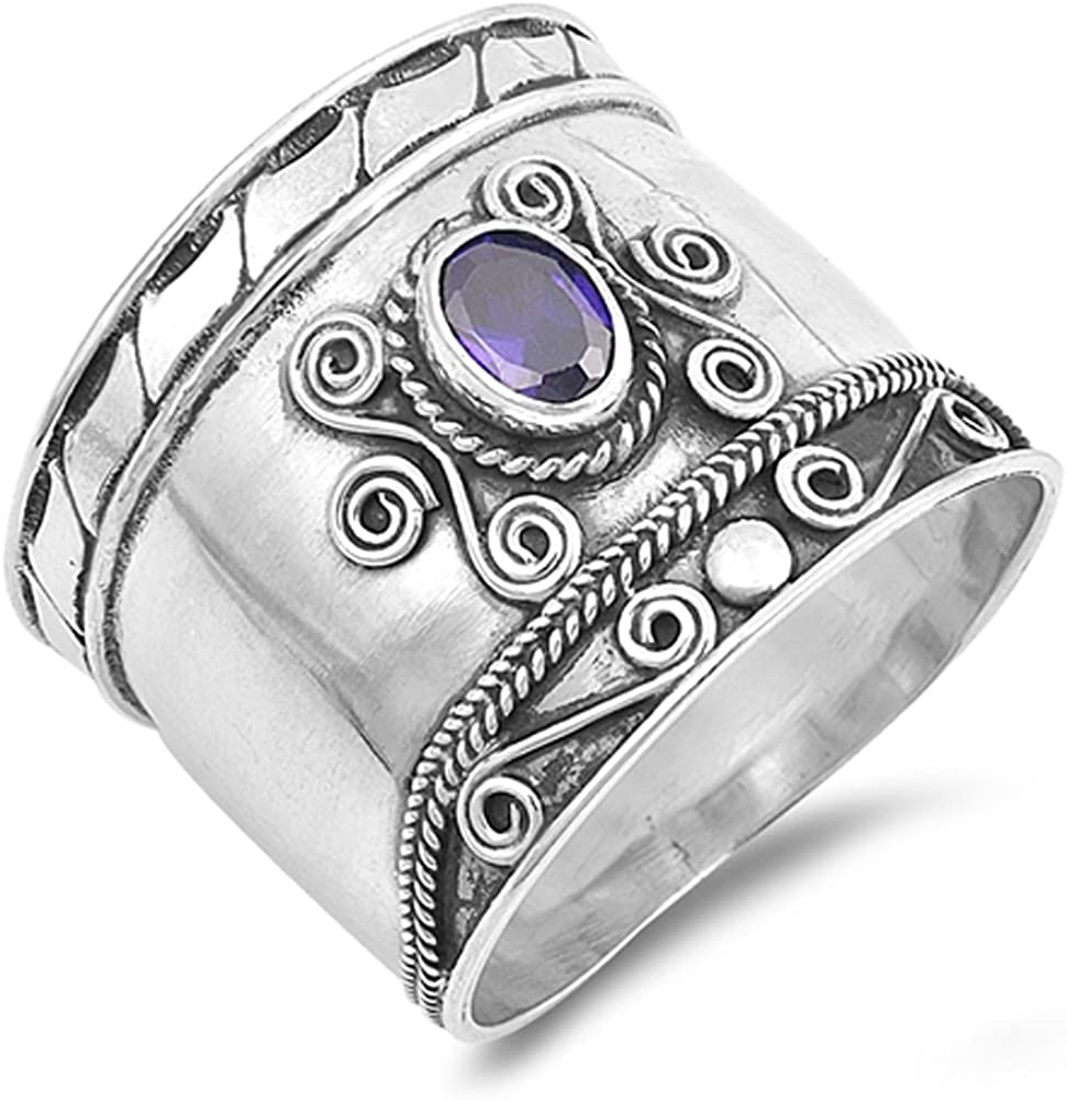Simulated Amethyst Wide Rapid rise Bali Swirl New .925 70% OFF Outlet Silver Sterling Ring
