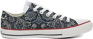 f65f64cd9176 Converse Women s All Star (shoes customized) hand printed Italian style  Blue Paisley size 40
