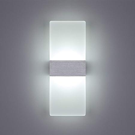 Yafido Applique LED Murale Interieur 12W Lampe Murale Blanc Froid Verre Design Simple Gris Brosse AC 220V pour Chambre Salon Salle de Bain 29CM
