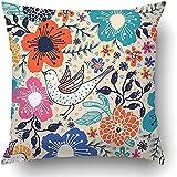 Fundas de almohada divertidas y duraderas con diseño de flores coloridas, flores voladoras, pájaros, hojas, corazones, plantas vintage, rosa, poliéster, cuadrado, con cremallera, decorativa, 18 x 18 pulgadas