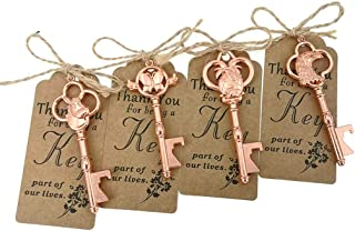 40pcs Skeleton Key Bottle Opener Wedding Party Favor Souvenir Gift with Escort Tag and Jute Rope (Rose Gold Tone,4 Styles)