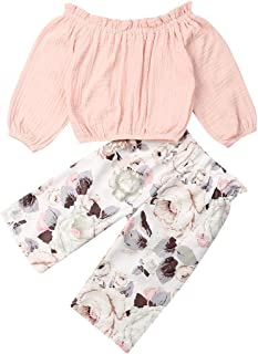 2 pcs/Set Toddler Baby Girl Clothes Flower T-Shirt Tops Sunflower Leggings Pants Outfit