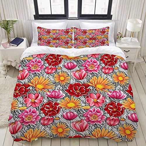 Bettbezug-Set, Muster Blumen Rose...