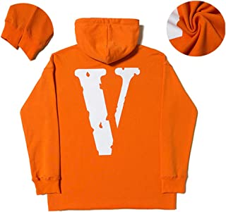 Popular Hooded Pullover Behind Purple Big V Chest Logo Hoodie Street Couple Sweater Men Women Zip Hip Hop Fun Top,Orange,L