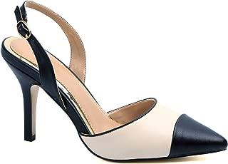 Greatonu Women High Heel Ankle Strap Closed Toe Sandals