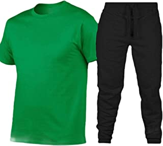 Men Short Sleeve Casual T Shirt and Pants 2 Piece Tracksuit Sets