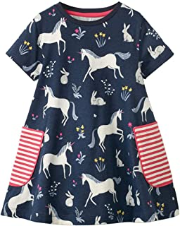 Little Girls Short Sleeve Dress Casual Cute Animal Print Dress Outfit for 1-7 Year (6T 5~6Years, C002)