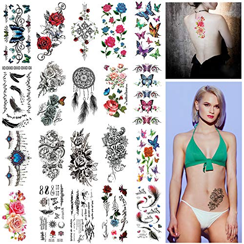 Vtrem 20Pcs Tatouages Temporaires Imperméables Fau Tatouage Femme Sexy Pochoir Tatouage Ephemere Doré Semi Permanent Autocollants Papier Transfert Tatouage Motif Rose/Capteur De Rêves/Papillon