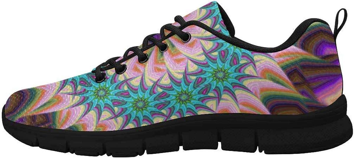 INTERESTPRINT Colourful Floral Pattern Women's Athletic Walking Shoes Breathe Comfort Mesh