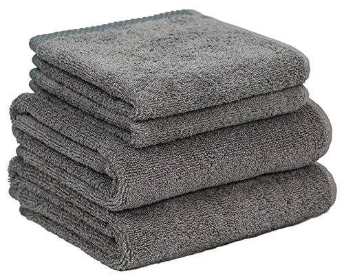 Home and Plan Quick Dry Premium 100% Turkish Cotton Hand Towels & Wash Cloths | 4-Piece Set, 2 Hand Towels (16x27), 2 Wash Cloths (12x12) - Grey (S3)