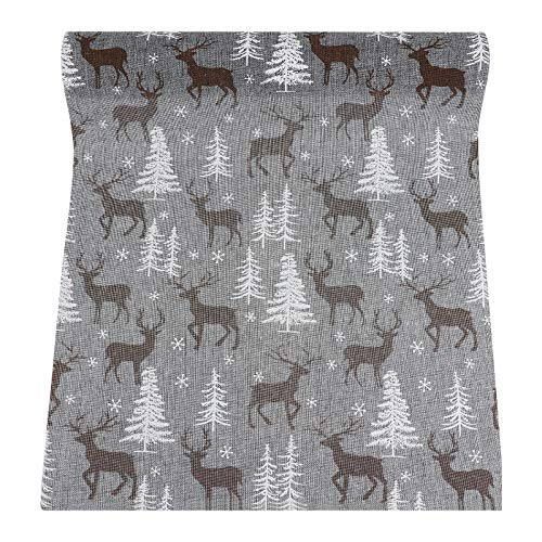 Amosfun Christmas Table Runner Reindeer Table Cloth Xmas Table Cover Winter Holiday Dinner Table Decoration Supplies