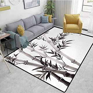 Bamboo Modern Area Rug Traditional Bamboo Leaves Meaning Wisdom Growth Renewal Unleash Your Power Artprint Anti-Static W78 x L118 Grey White
