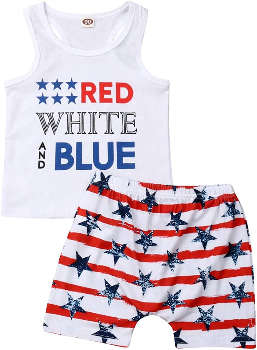 Toddler Baby Boys 4th of July Price reduction Clothes Sleeveless Stars Bargain a Outfits