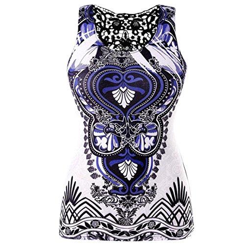 Moonuy Frauen Plus Size Tank Top Runde Kragen Hemd Retro Casual Baumwolle Zurück Spitze Panel Ethnische Print Vintage T-Shirt Bluse Stilvolle Dünne Kleidung (EU 48 / Asien 5XL, Mehrfarbig)