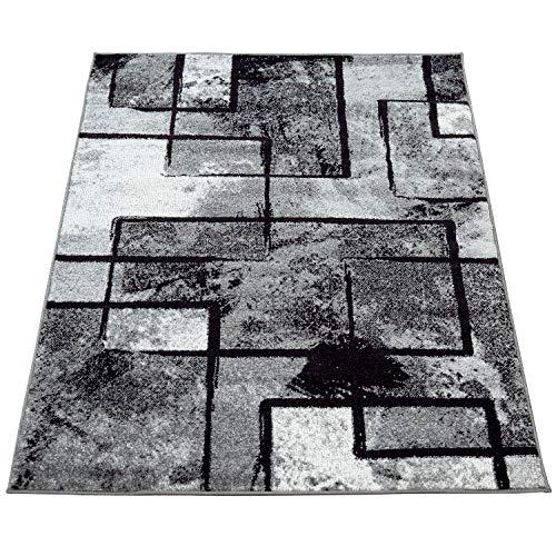 Amazon Brand - Umi Tappeto Solotto Moderno Pelo Corto Corridoio Motivo Geometrico Astratto Effetto Marmo Sala da Pranzo, Colore:Grigio, Dimensione:160x230 cm