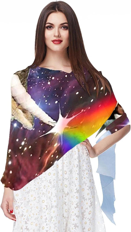 Scarfs for Women Lightweight Fashion Scarves Print Floral Pattern Scarf Shawl Wraps, Happy Unicorn Cat
