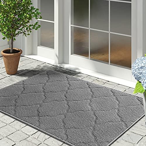 """iOhouze Indoor Outdoor Doormat Grey Trellis, 20""""x 32"""", Super Absorbent, Non Slip, Low Profile, Machine Washable, Dirt Resistant, Grey Outdoor Rug Welcome Mat for Entryway, Patio"""