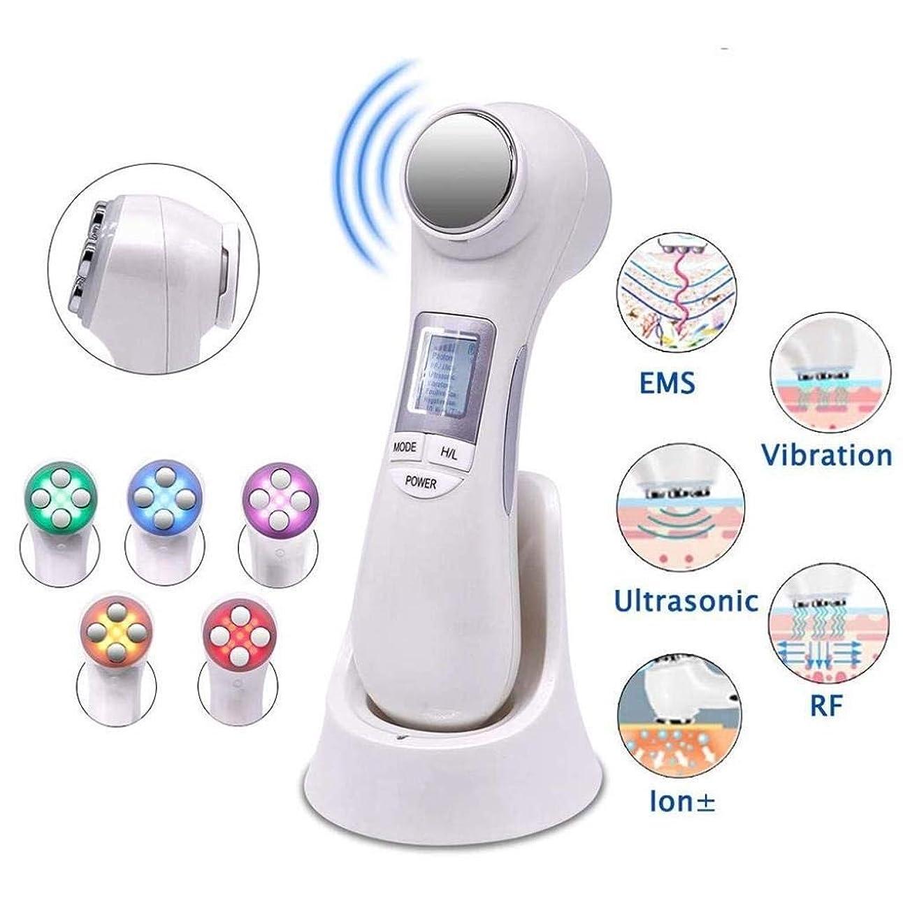 予防接種エンジニアリング血まみれの顔の清潔にする皮のしっかりとしたマッサージ装置、1つのRF EMS超音波振動イオンに付き6つ。活性化、クレンジング、滑らかな細線