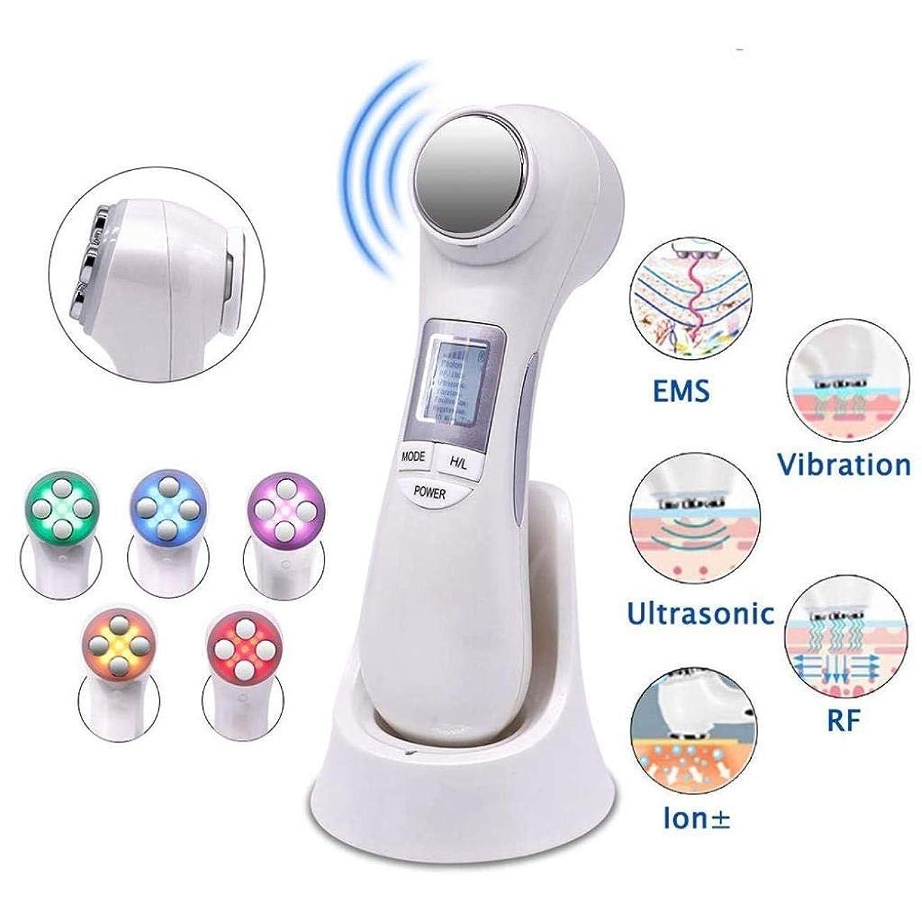 顔の清潔にする皮のしっかりとしたマッサージ装置、1つのRF EMS超音波振動イオンに付き6つ。活性化、クレンジング、滑らかな細線