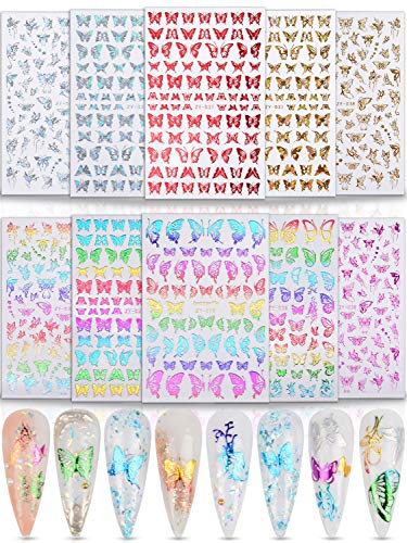 Warmfits 10 Sheets Holographic Butterfly Nail Stickers Decals Holo Gold Silver Multi-Color Different Shapes Nail Adhesive Stickers