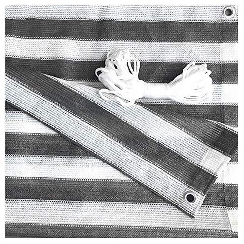 GuoWei Shade Sail 70%-80% - Pañuelo con ojales para cubierta exterior de jardín Pérgola rayas blancas y grises, 4x6m