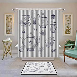 Fabric Shower Curtain Blue and White,Hand Drawn Teapots and Cups Muffins and Bags Vintage English Tradition, Navy Blue White,Waterproof Polyester Shower Curtain for Bathroom 108