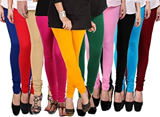 Klugger Cotton Lycra 160 GSM | 4 way Stretchable | Multicolour Leggings For Women's Combo (Pack-10) Free Size