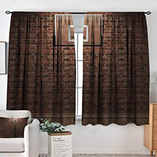 Theresa Dewey Sliding Curtains Basketball,Old Brick Wall and Basketball Hoop Rim Indoor Training Exercising Stadium Picture,Brown,Thermal Insulated Light Blocking Drapes for Bedroom 42