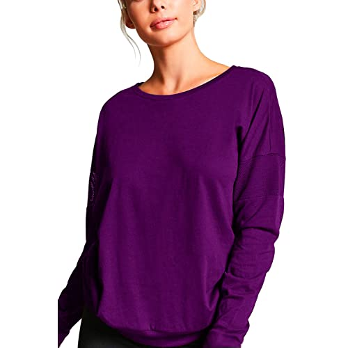 Duppoly Womens Athletic Tops Solid Color Shirts Thumbholes Sweatshirts Soft Long Sleeve Yoga Workout Clothes Purple