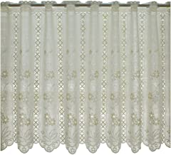 カフェカーテン ナチュラルフラワー 13694 ベージュ 68cm丈 × 巾150cm (ミラー ウォッシャブル)