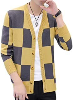 H&E Men's V-Neck Open Front Button Down Knit Color Block Hipster Cardigan