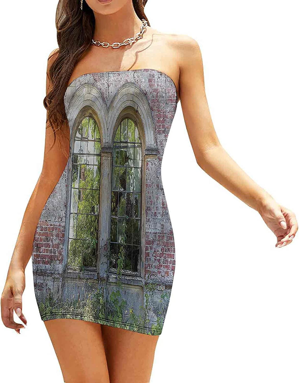 Women's Sleeveless Sexy Tube Top Dress Old House Door Brickwork Dresses