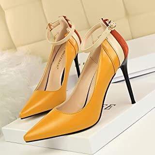 LUKEEXIN Women's High Heel Stiletto High Heel Pointed Color Matching Single Shoes