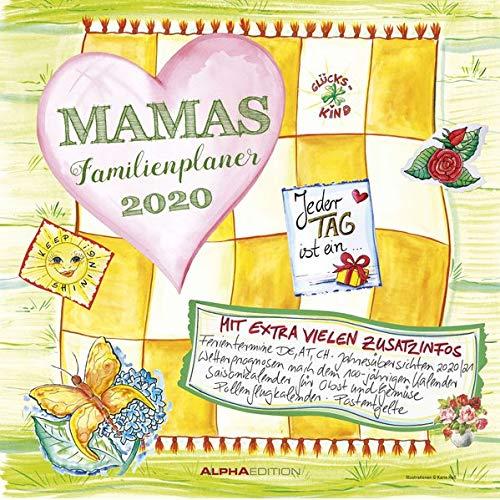 Mamas Familienplaner 2020 - Broschürenkalender (30 x 60 geöffnet) - mit 5 Spalten - mit Ferienterminen, Wetterprognosen uvm. - Wandkalender