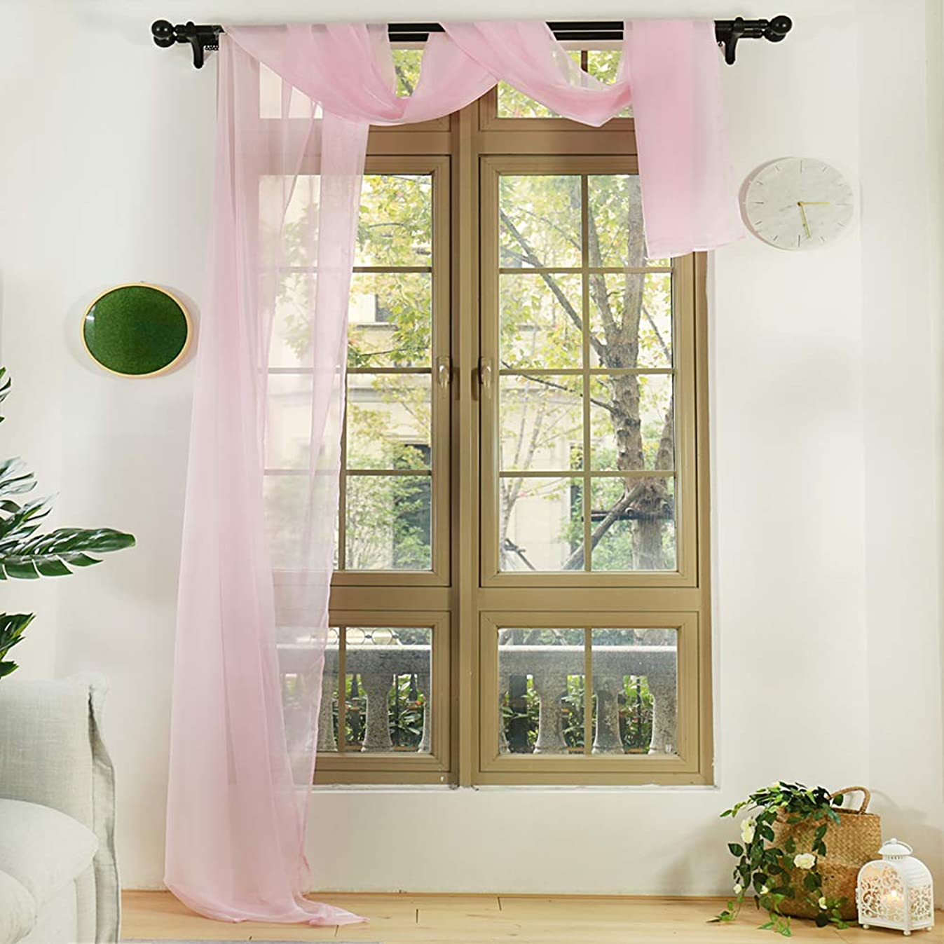 Anjee Pink Window Scarf Extra Long 216 Inches, Semi Sheer Valance Window Treatment Voile Curtain Drapes, Elegant Home Decor for Girls' Bedroom, Party and Wedding (1 Panel, W52 X L216 inches)