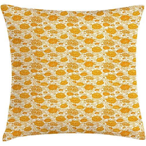 QDAS Kussensloop met Vibrant, bloemen, mandarijn, vierkant, met calendula en crème