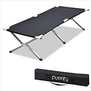Purenity Folding Military Bed Portable Sport Camping COT with Free Storage Bag (Renewed)