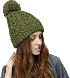 JULY SHEEP Women's Hypoallergenic Winter Knitted Beanie Merino Wool Pompom Hat with Fleece Lining Thick Slouchy Hat Ski Cap