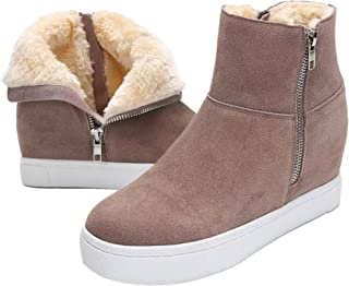 Blivener Women's Wedge Sneakers Fur Lining High Top Hidden Wedge Snow Boots Fashion Warm Winter Shoes